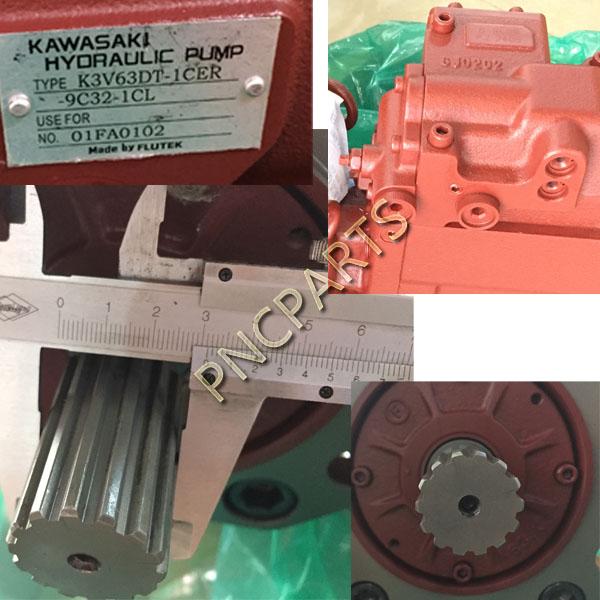 JCB JS160 main pump b - Kawasaki K3V63DT JCB JS160 Main Pump Hydraulic 9C32,14T